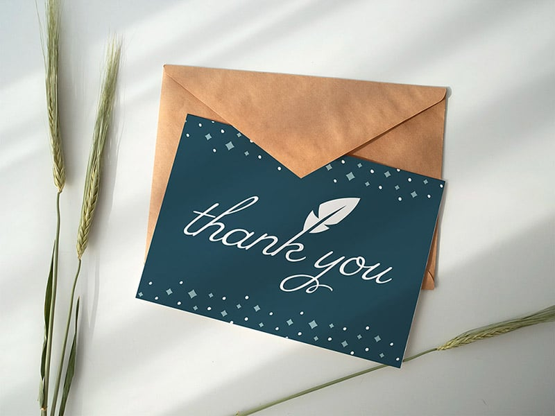 Unali Events thank you card