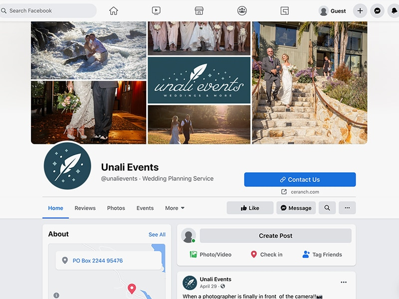 Unali Events social media branding
