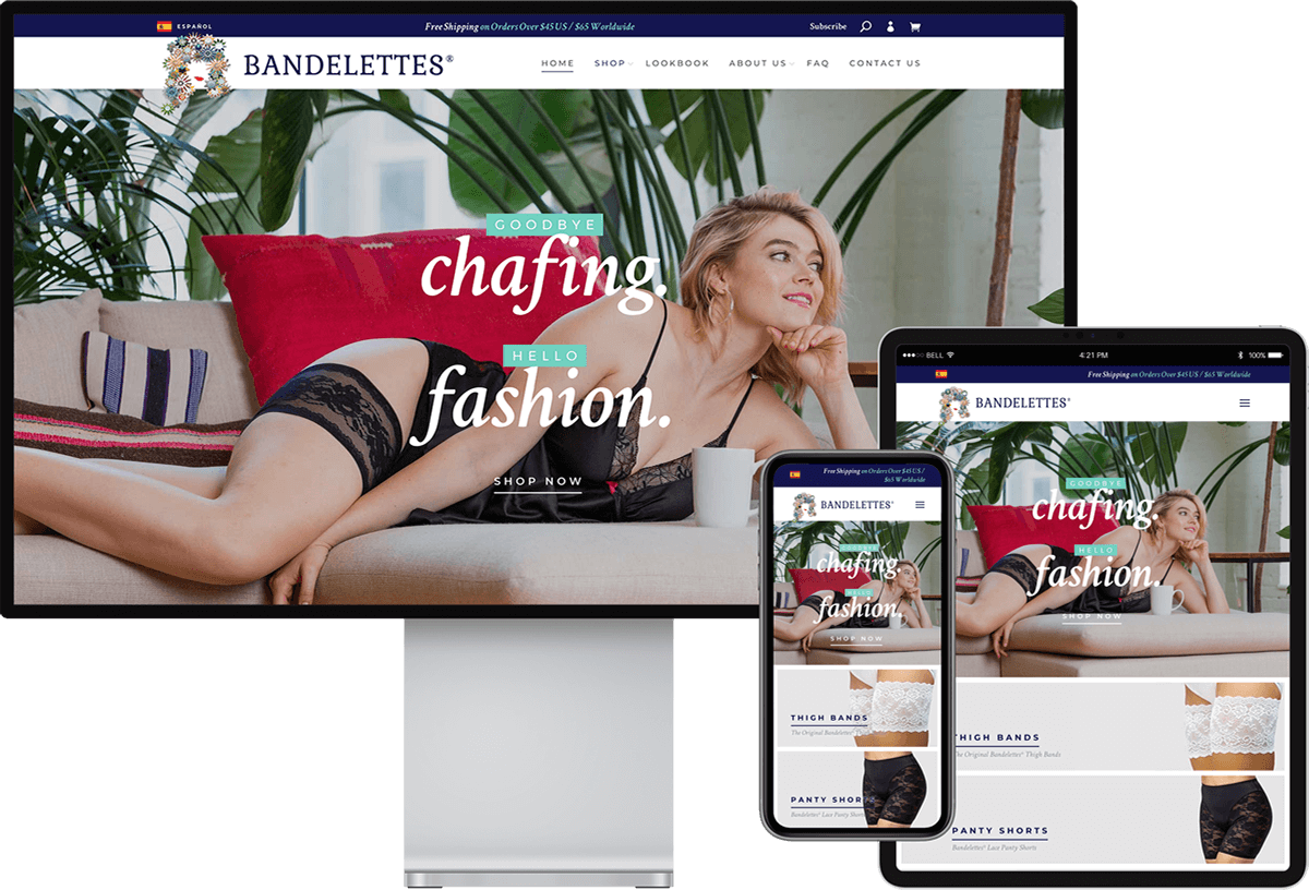 Bandelettes website on devices of different sizes