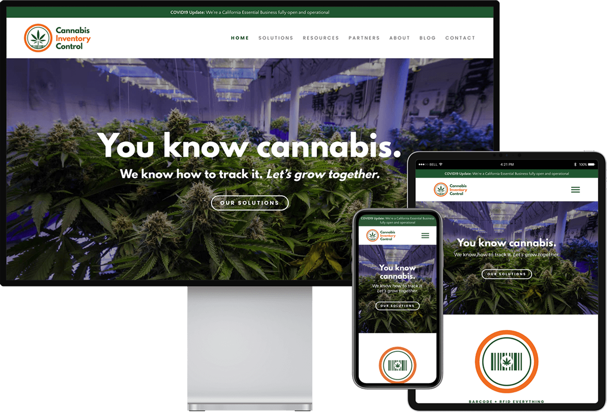 Cannabis Inventory Control website on devices of different sizes