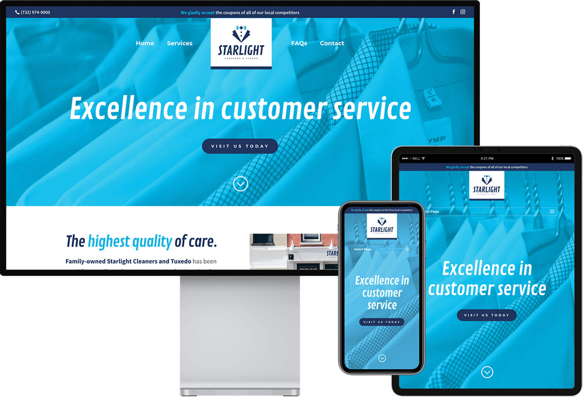 Starlight Cleaners website on devices of different sizes