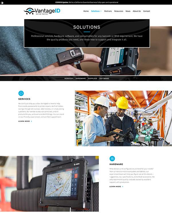 VantageID Solutions page