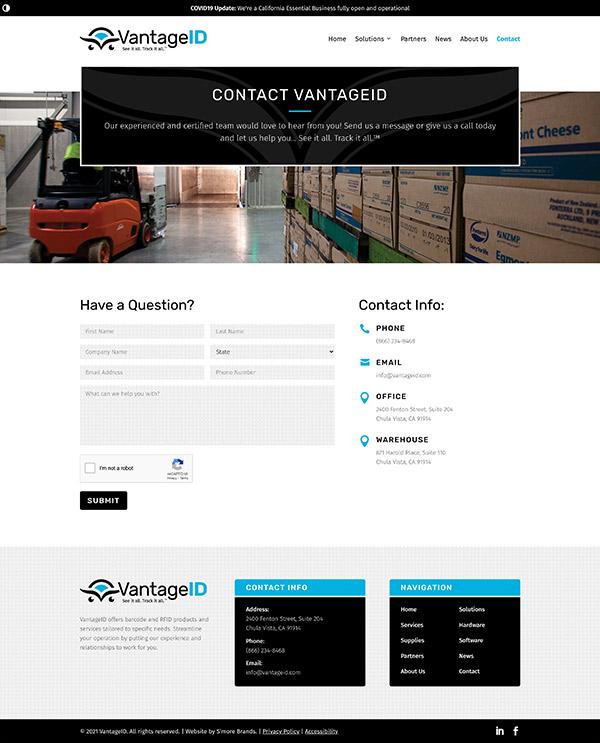VantageID Contact page