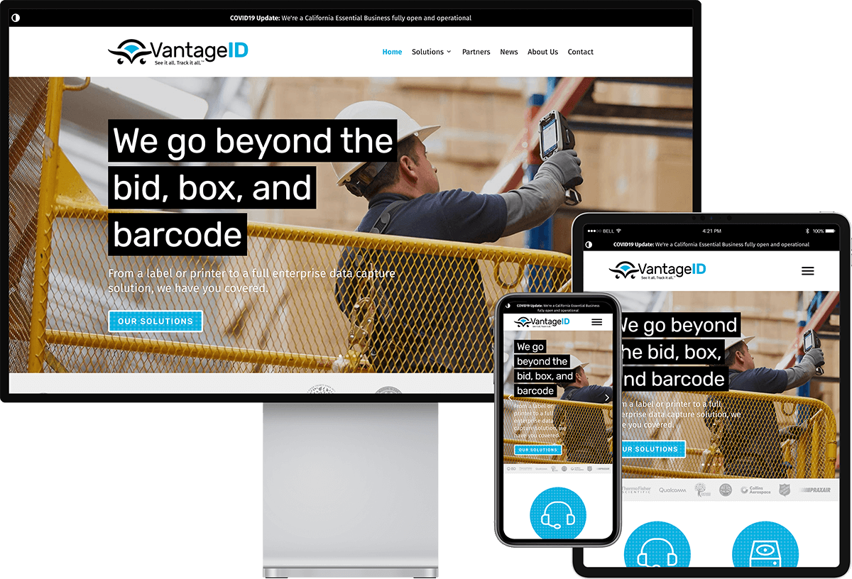 VantageID website on devices of different sizes