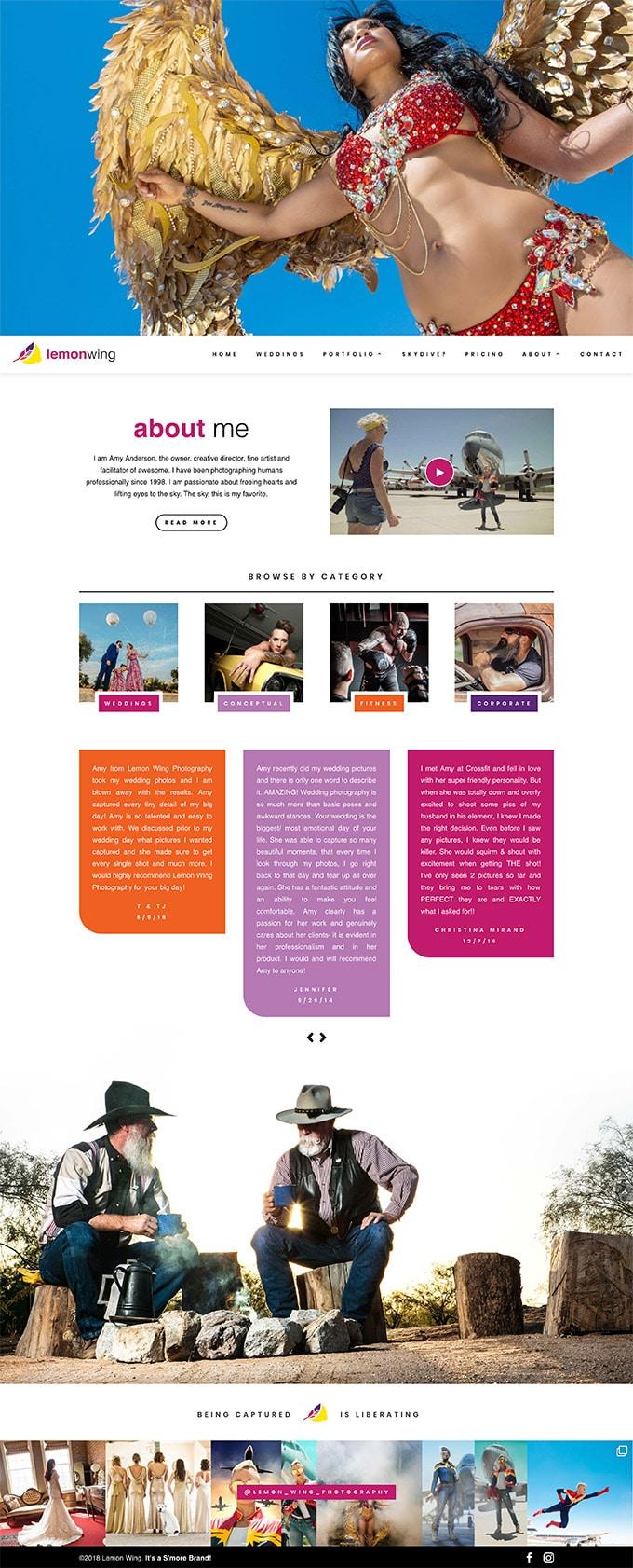 Lemon Wing website homepage design