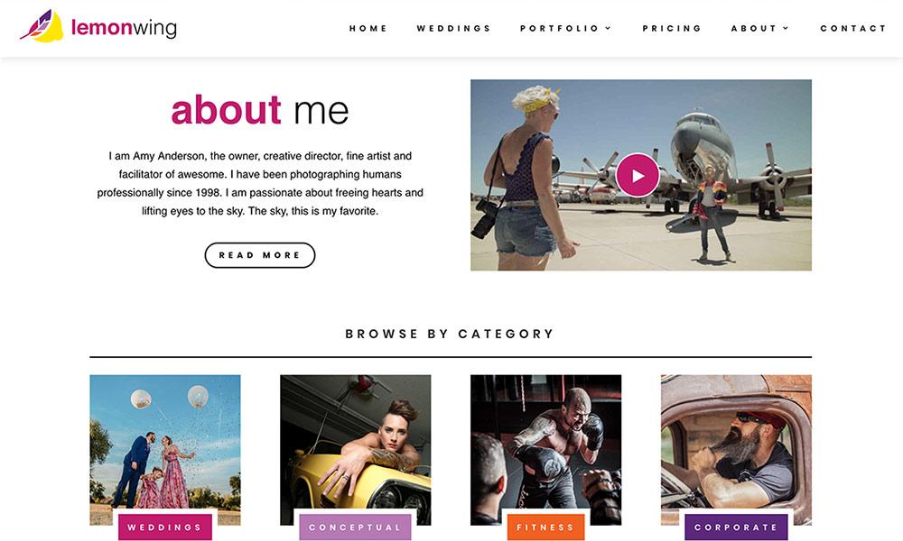 Lemon Wing homepage lower on page