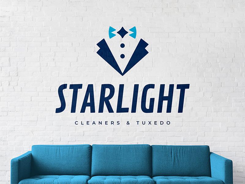 Starlight Cleaners & Tuxedo logo design