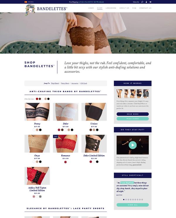 Bandelettes shop page